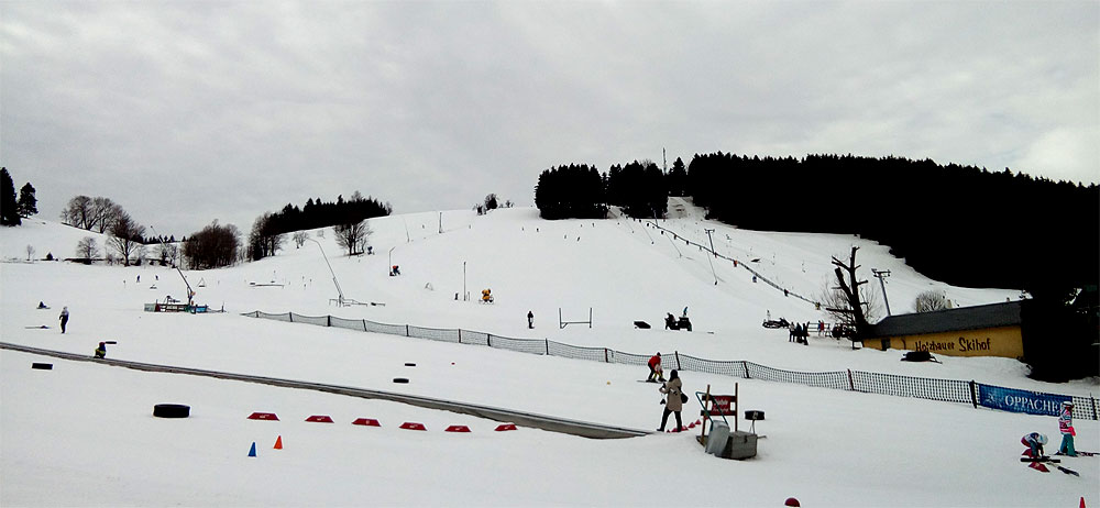 Blick auf einen Teil des Skigebietes mit Skischule, Talstation des großen Schleppliftes und Abfahrten am Haupthang