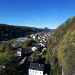 Blick vom Personenaufzug in Bad Schandau über die Stadt zum Lilienstein
