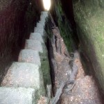 Abstieg durch den Kamin
