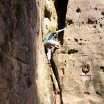 Kleine Kletterei am Zustieg zum Gipfel