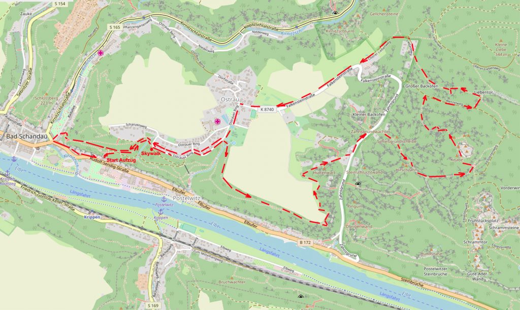 Unsere Wanderung auf dem Ausschnitt eine OSM-Karte. Open Street Map Kartenausschnitt – Copyright: Creative Commons Attribution Share Alike-Lizenz 2.0