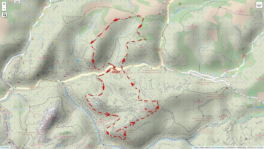 Wanderung auf dem Ausschnitt einer OSM-Karte. Open Street Map Kartenausschnitt – Copyright: Creative Commons Attribution Share Alike-Lizenz 2.0