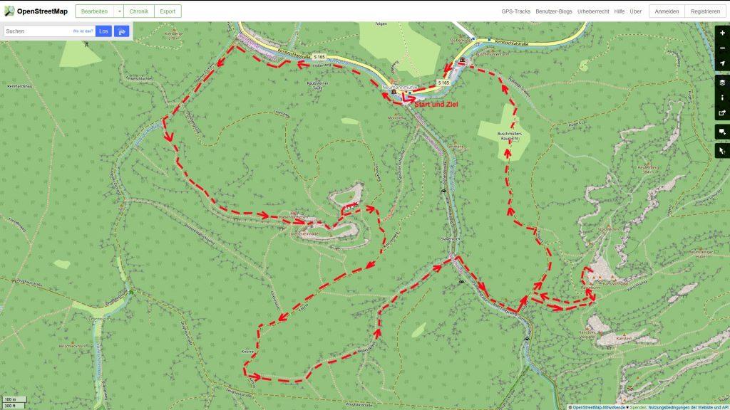 die Wanderung auf dem Ausschnitt eine OSM-Karte. Open Street Map Kartenausschnitt – Copyright: Creative Commons Attribution Share Alike-Lizenz 2.0